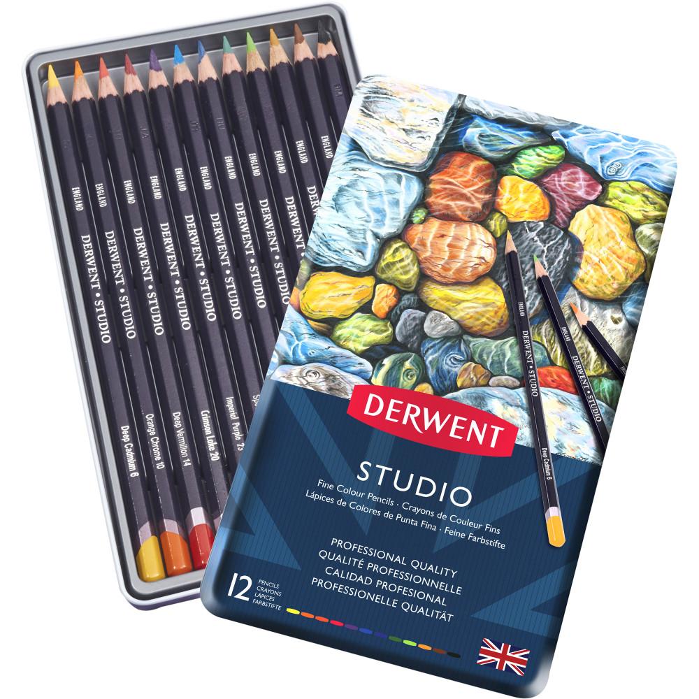 DERWENT STUDIO PENCILS Tin 12 Assorted