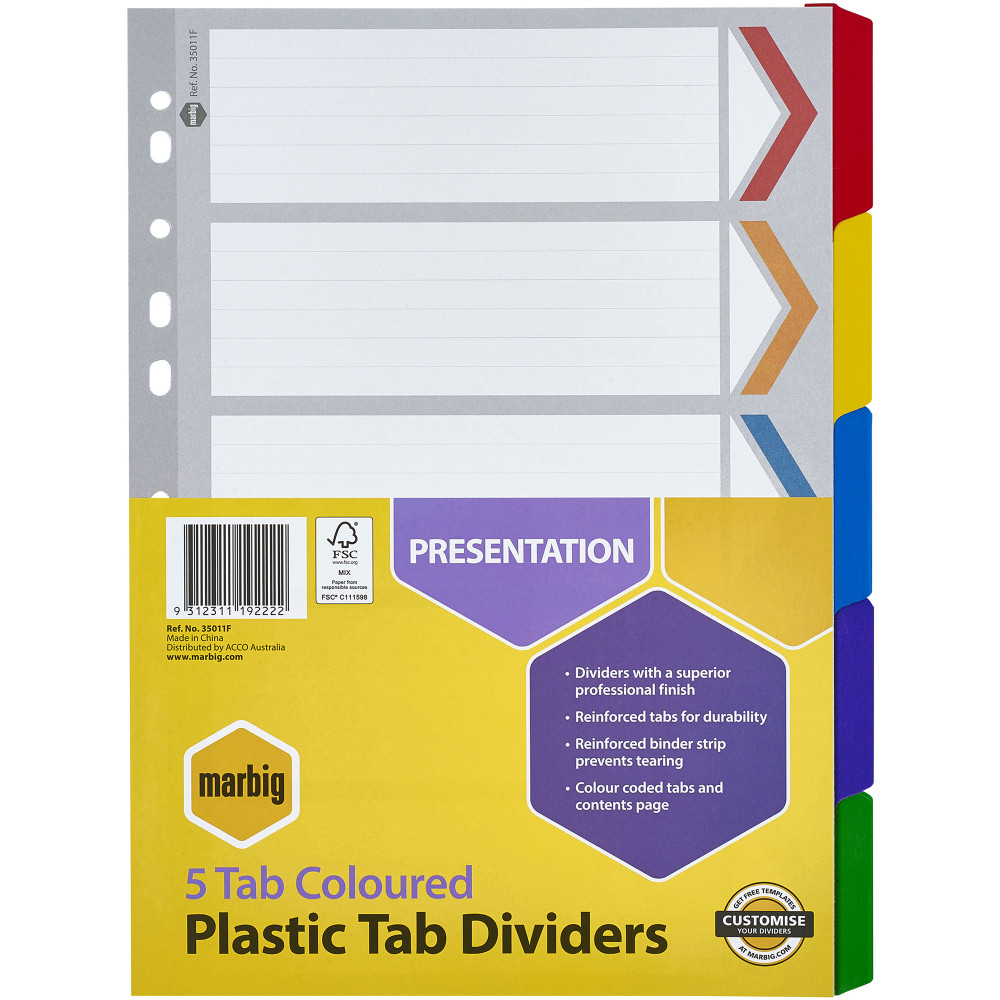 MARBIG COLOURED DIVIDERS A4 5 Reinf Tab PP