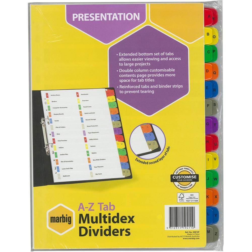 MARBIG MULTIDEX DIVIDERS A4 A-Z Tab White