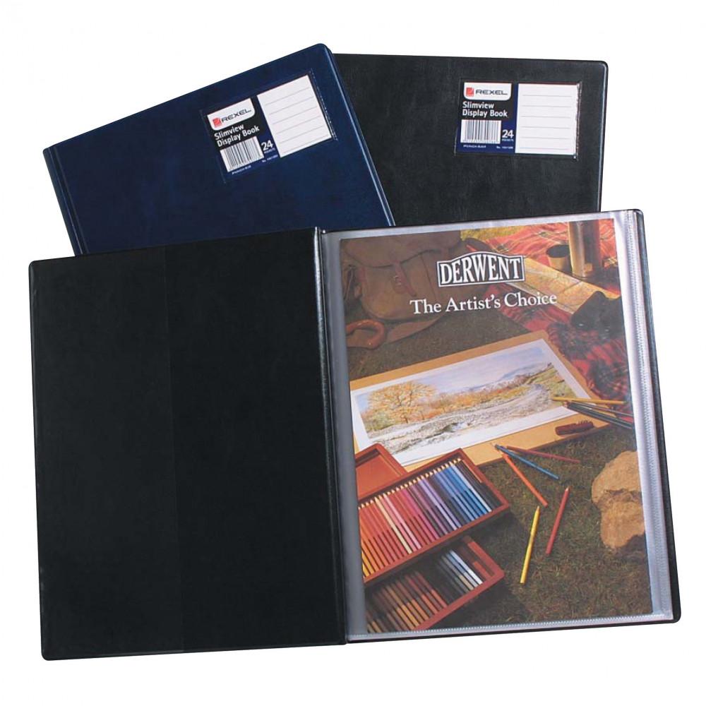REXEL SLIMVIEW DISPLAY BOOK A4 24 Pocket Black