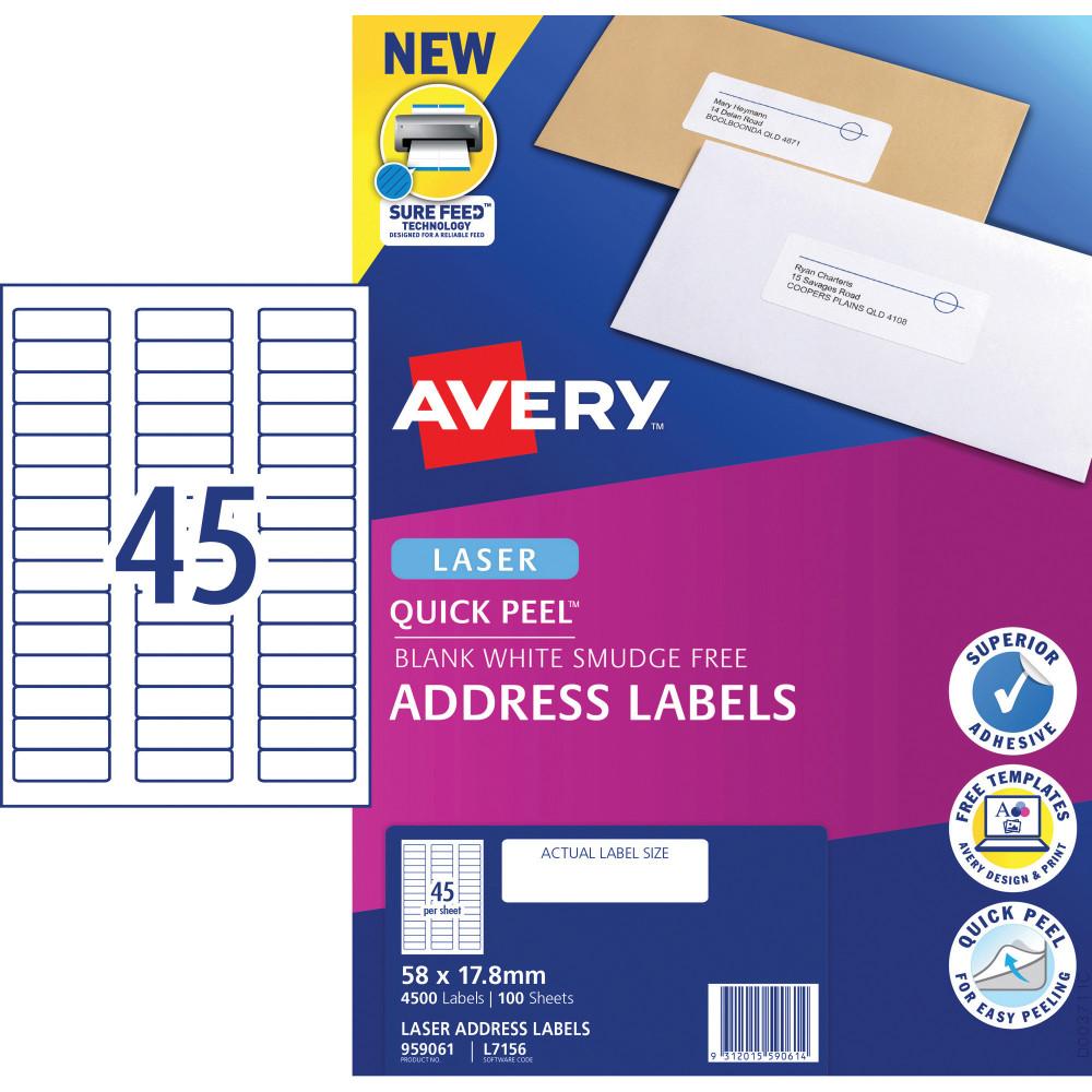 AVERY L7156 MAILING LABELS Laser 45/Sht 58x17.8mm Address