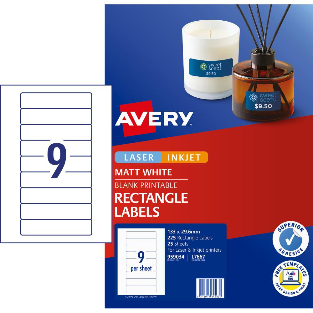 AVERY L7667 MEDIA LASER LABELS Std Data Cartridge 133x29.61