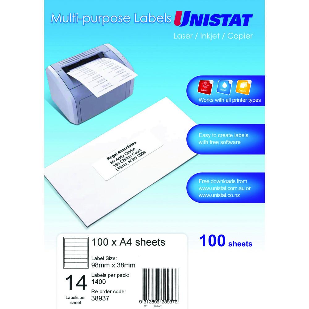 UNISTAT LASER/INKJET LABELS Copier 14/Sht 98x38mm
