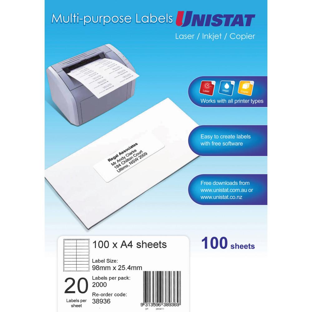 UNISTAT LASER/INKJET LABELS Copier 20/Sht 98x25.4mm