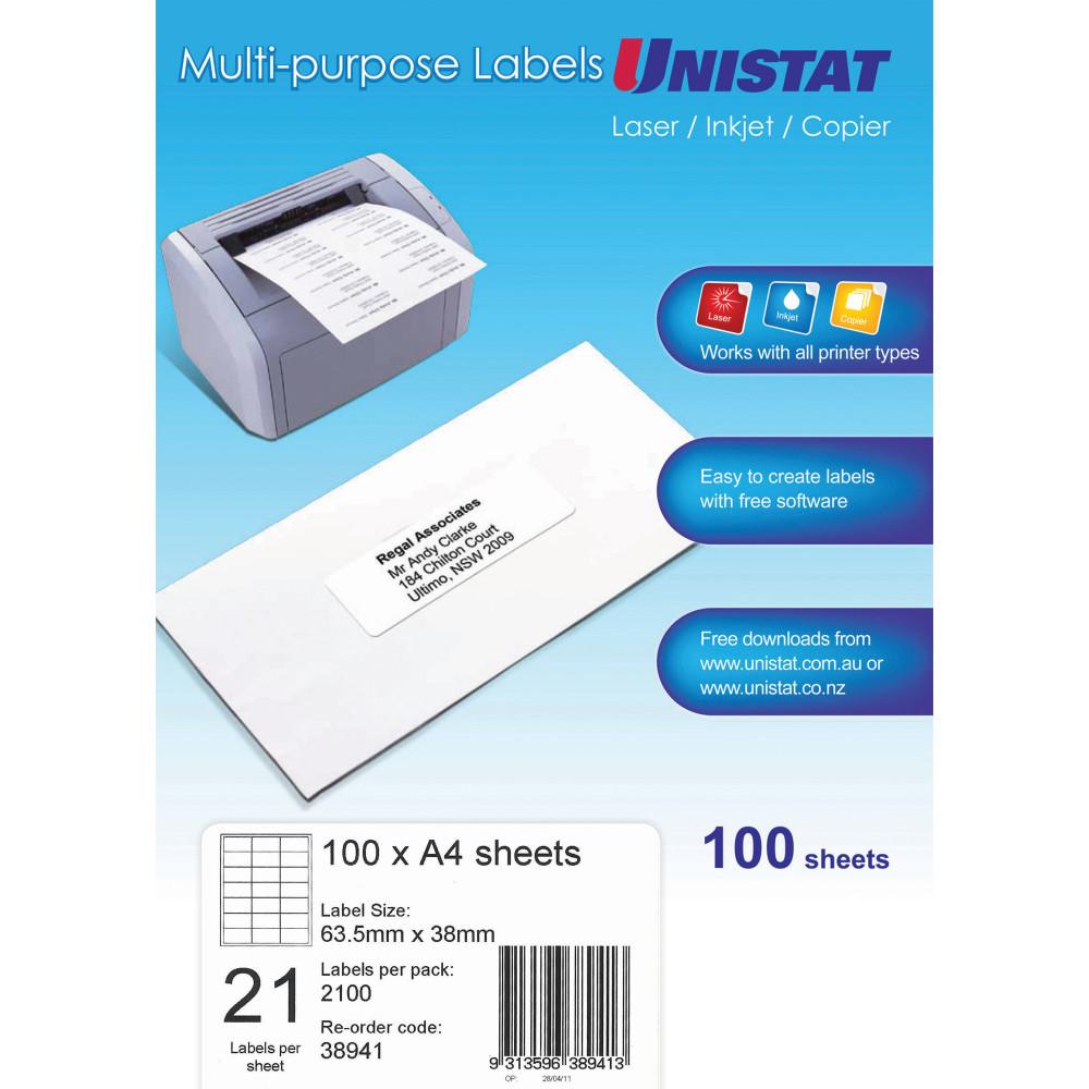 UNISTAT LASER/INKJET LABELS Copier 21/Sht 63.5x38mm