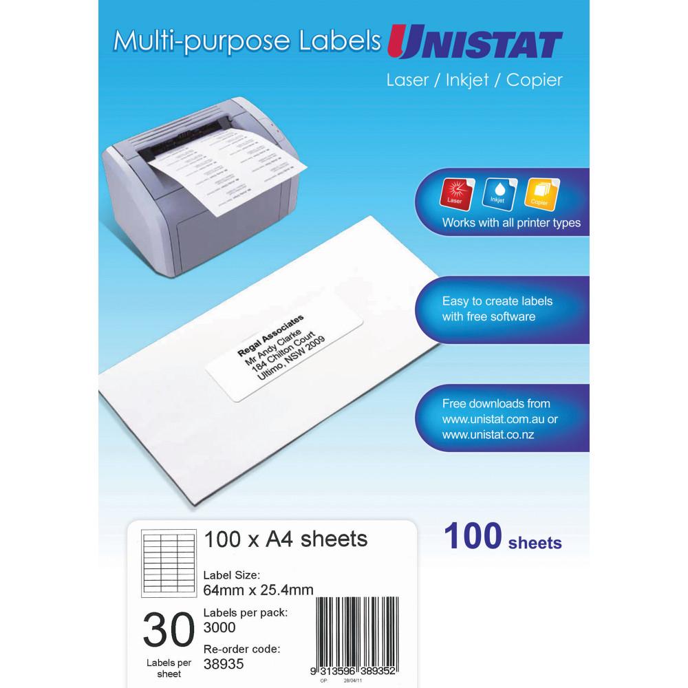 UNISTAT LASER/INKJET LABELS Copier 30/Sht 64x25.4mm