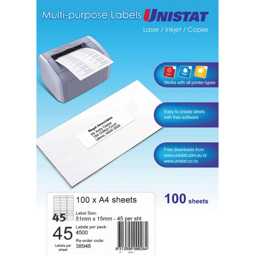 UNISTAT LASER/INKJET LABELS 45/Sht 51x15mm White