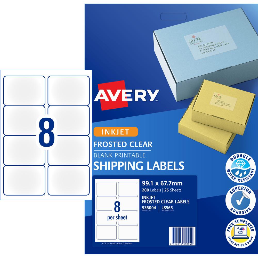 AVERY J8565 QUICK PEEL LABEL IJet 8/Sht 99.1x67.7 Parcel Cl