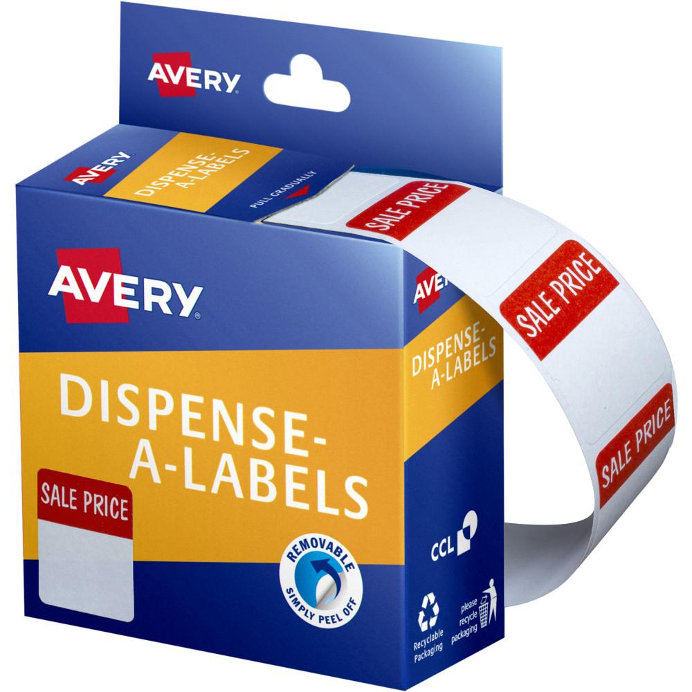 AVERY DMR2432S1 DISPENSR LABEL Printd Sale Price 24x32 Red White 400 Pack