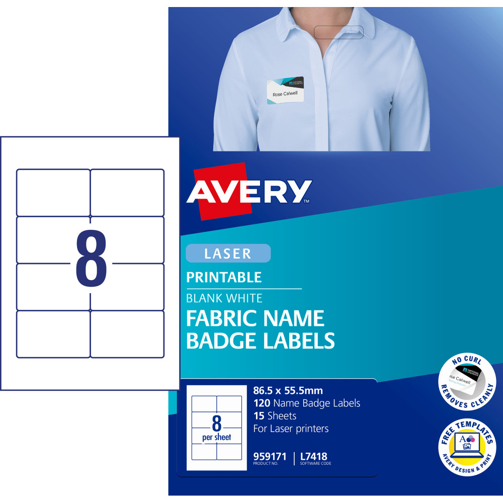 AVERY L4718 FABRIC NAME LABELS 8/Sht 86.5x55.5 Acetate Silk