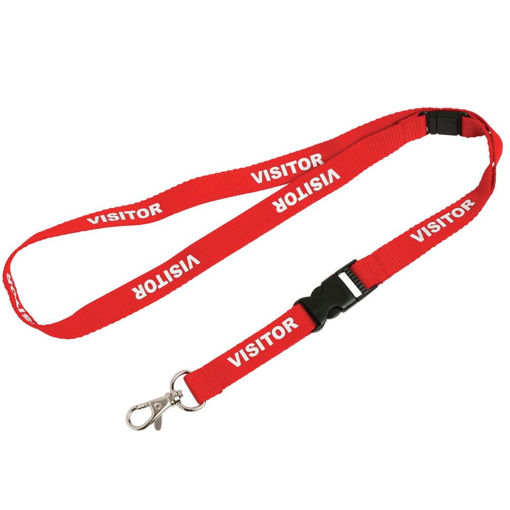 REXEL PRE-PRINTED LANYARD Visitor Pk5 Red