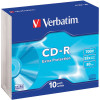 VERBATIM RECORDABLE CD'S CD-R 80Min 52X Slim Case Pk10