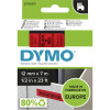 DYMO D1 LABEL CASSETTE 12mmx7m -Black on Red