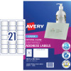 AVERY L7560 CLEAR LASER LABELS Quick Peel 21/Sht 63.5x38.1mm
