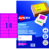 AVERY L7163FP LASER LABELS 14/Sht 99.1x38.1mm Fluoro Pink