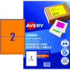AVERY L7168FO LASER LABELS 2/Sht 199.6x43.5mm Fluoro Orange Pack of 10