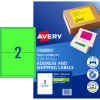 AVERY L7168FG LASER LABELS 2 /Sht 199.6x43.5mm Fluoro Green