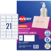 AVERY J8560 QUICK PEEL LABEL I/Jet 21/Sht 63.5x38.1 Add Clr