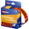 AVERY DMR1964FR DISPENSER LBL Printed Fragile 19x64mm Red