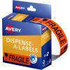 AVERY DMR1964FR DISPENSER LBL Printed Fragile 19x64mm Red