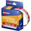 AVERY DMR1964SO DISPENSER LBL Printed Sold To 19x64 Red White 125 Pack