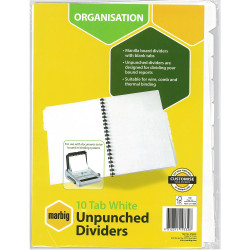 MARBIG UNPUNCHED DIVIDERS A4 10 Tab White