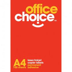 OFFICE CHOICE LASER LABELS Inkjet/Copier 4/Sht 99.1x139