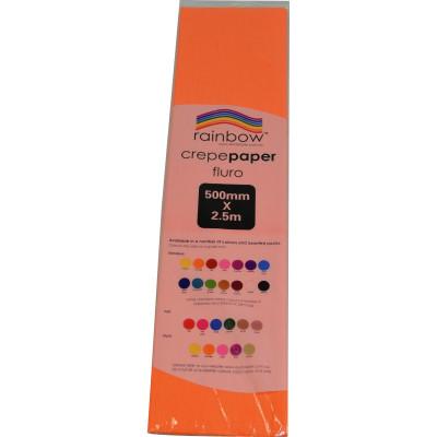 RAINBOW FLURO CREPE PAPER 500mmx2.5m Orange