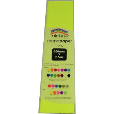 RAINBOW FLURO CREPE PAPER 500mmx2.5m Yellow