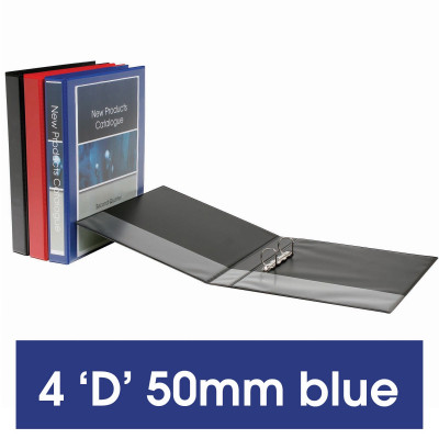 MARBIG ENVIRO INSERT BINDERS Clearview A4 4D Ring 50mm Blue