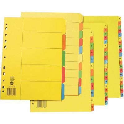 MARBIG BRIGHT MANILLA DIVIDERS A4 1-12  Multi-Coloured