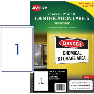 AVERY L7067 DURABLE H/D LABEL Laser 1/Sht 199.6x289.1mm Wht