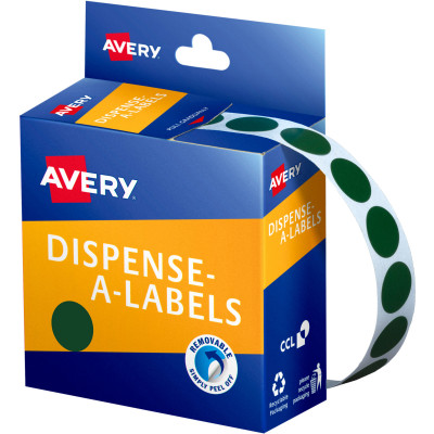AVERY DMC14G DISPENSER LABEL Circle 14mm Green