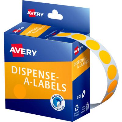 AVERY DMC14FO DISPENSER LABEL Circle 14mm Orange