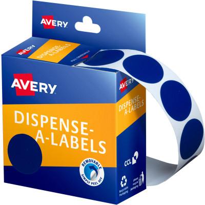 AVERY DMC24B DISPENSER LABEL Circle 24mm Blue