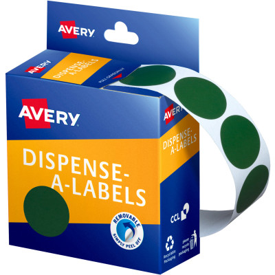 AVERY DMC24G DISPENSER LABEL Circle 24mm Green