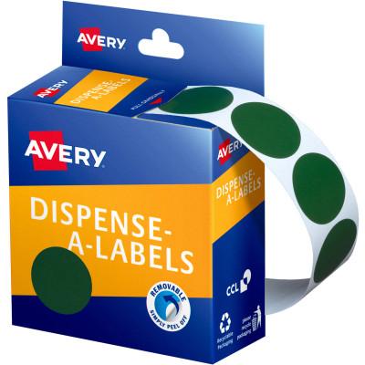 AVERY DMC24G DISPENSER LABEL Circle 24mm Green
