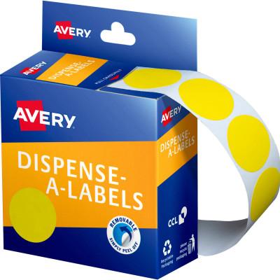 AVERY DMC24Y DISPENSER LABEL Circle 24mm Yellow