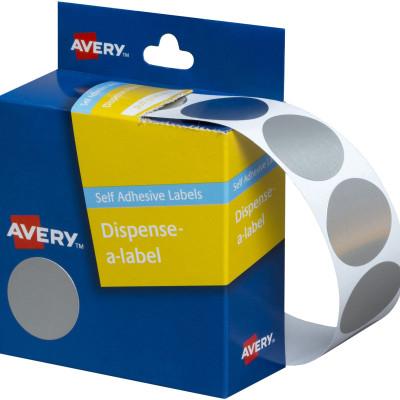 AVERY DMC24SI DISPENSER LABEL Circle 24mm Silver