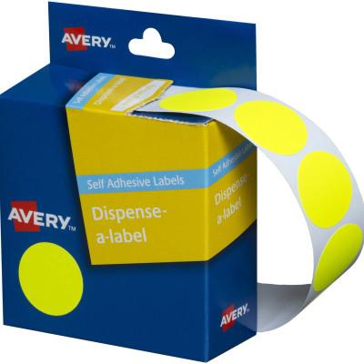 AVERY DMC24FY DISPENSER LABEL Circle 24mm Yellow