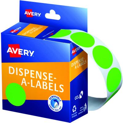 AVERY DMC24FG DISPENSER LABEL Circle 24mm Green