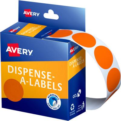AVERY DMC24O DISPENSER LABEL Circle 24mm Orange