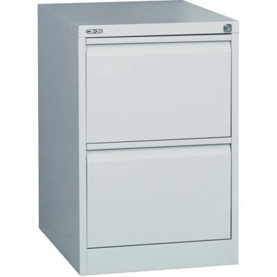 GO 2 DRAWER FILING CABINET H705 x W460 x D620mm Silver Grey Furnx